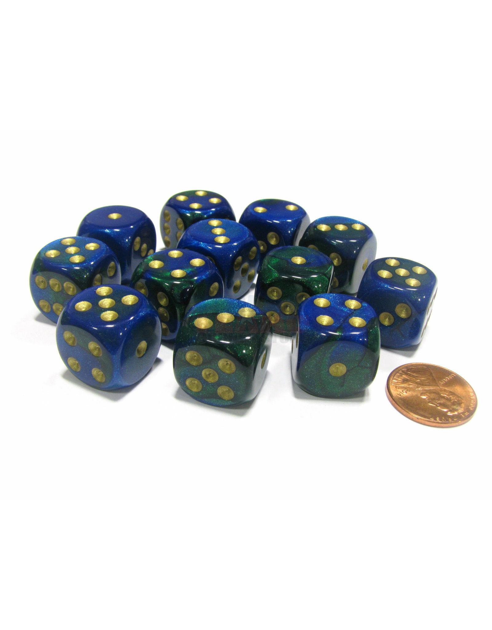 CHESSEX CHX 26636 16MM D6 DICE BLOCK BLUE GREEN W/GOLD GEMINI