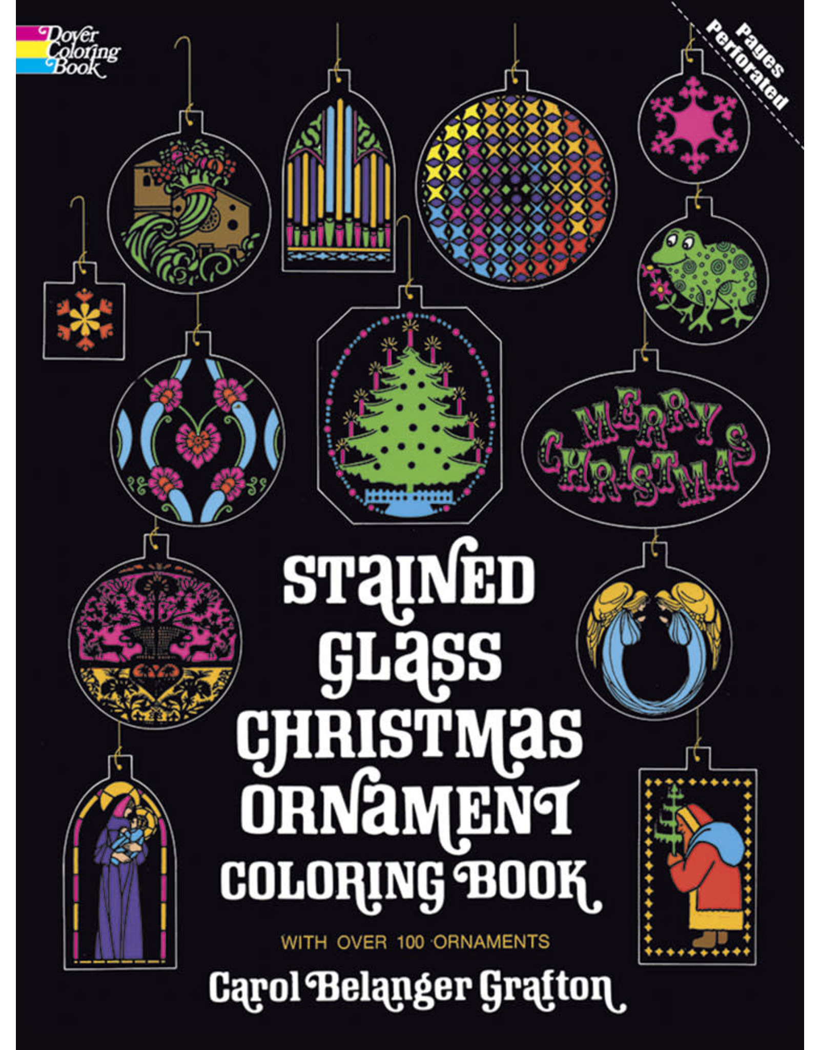 DOVER PUBLICATIONS STAINED GLASS CHRISTMAS ORNAMENT COLORING BOOK