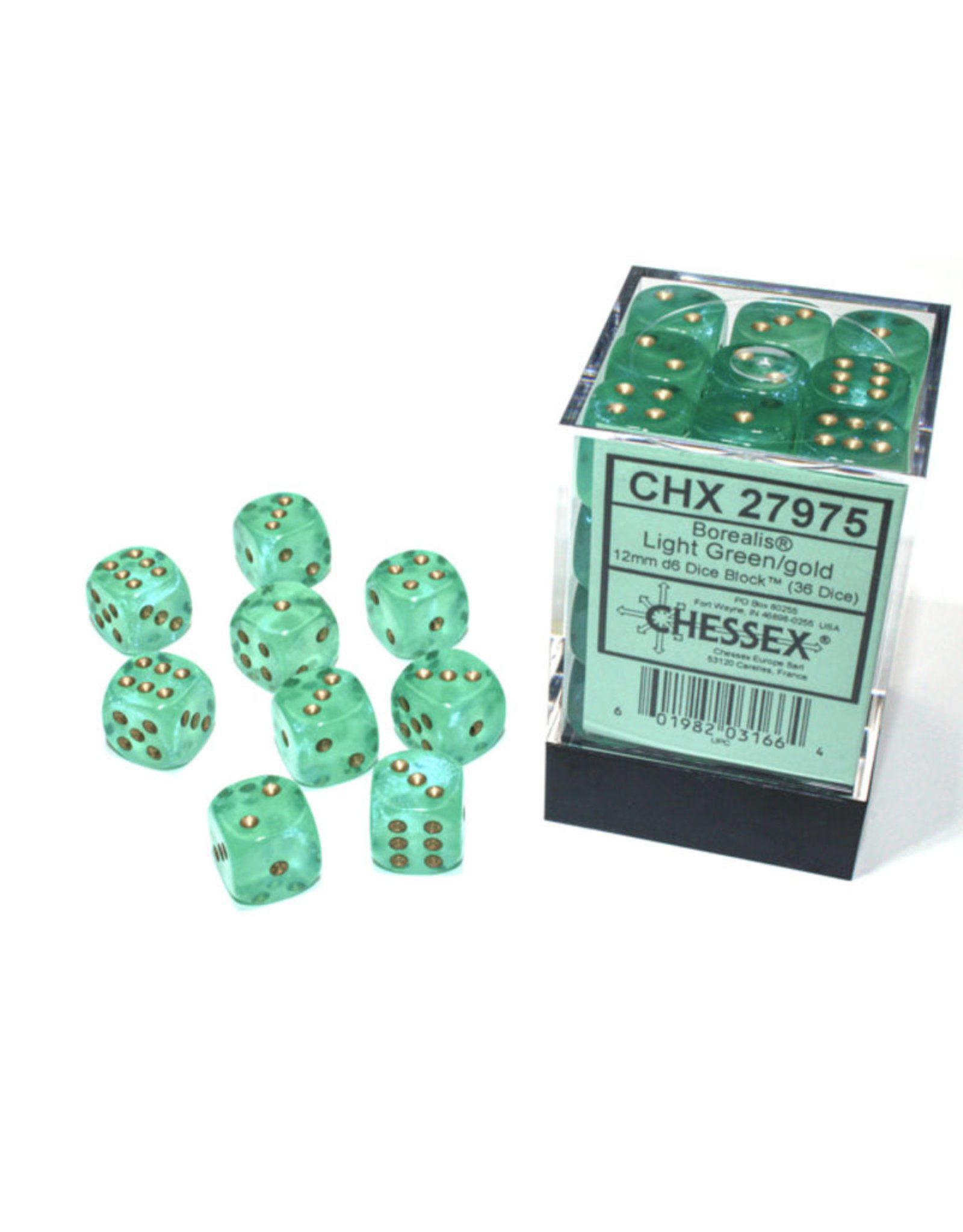 CHX 27975 12MM D6 BOREALIS LIGHT GREEN/GOLD LUMINARY DICE
