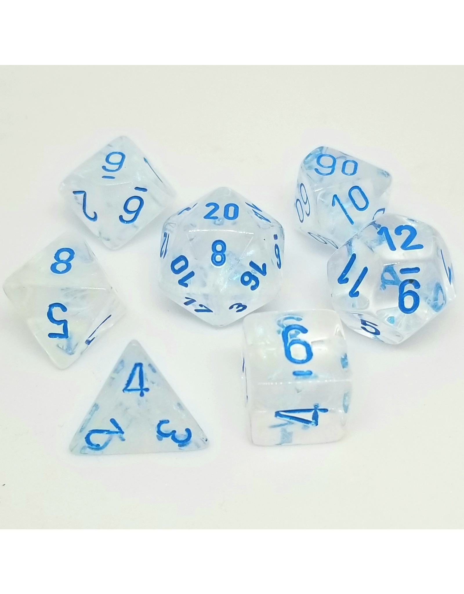 CHESSEX CHX 27581 7ct BOREALIS POLYHEDRAL ICICLE/LIGHT BLUE LUMINARY