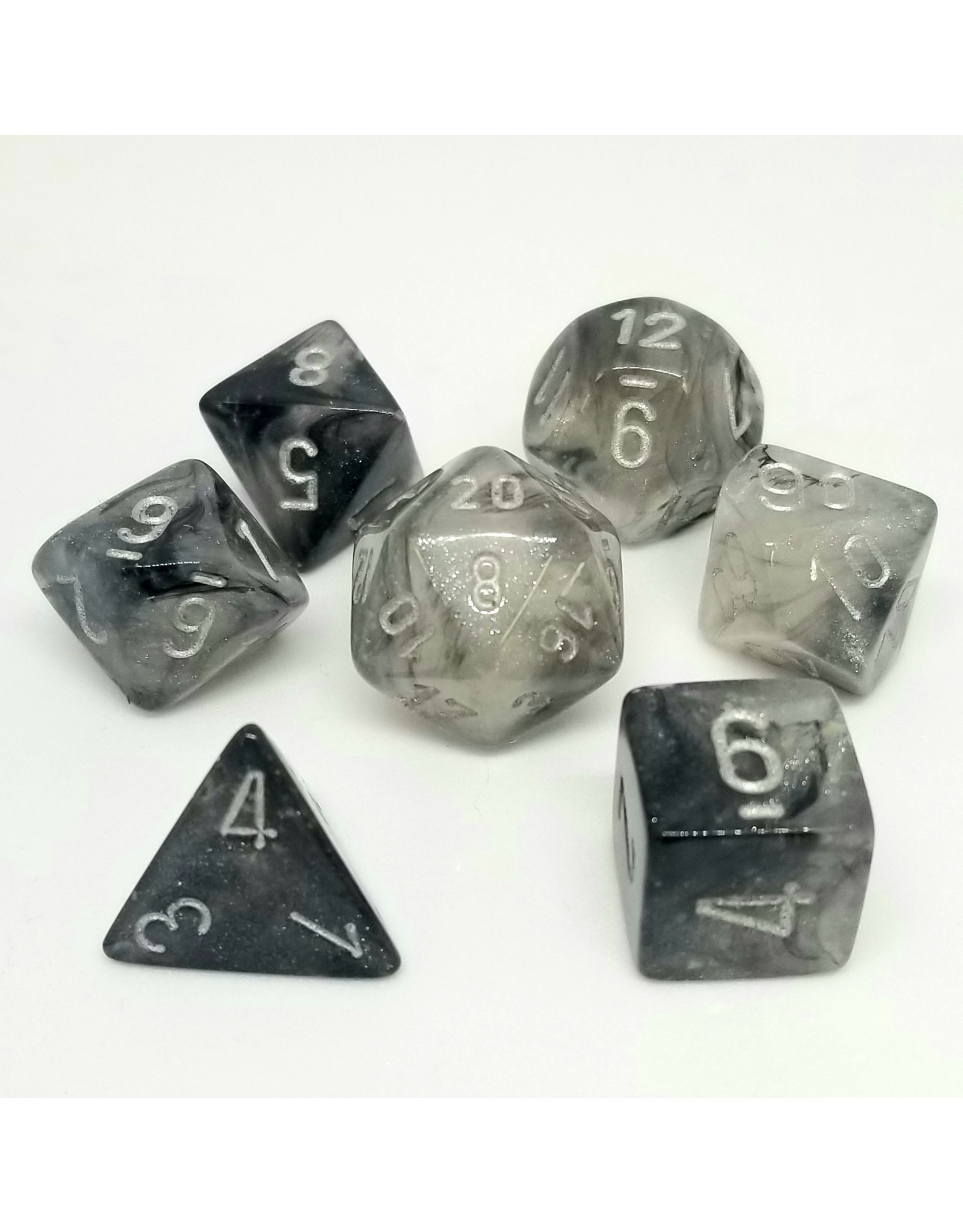 CHESSEX CHX 27578 7ct BOREALIS POLYHEDRAL SMOKE/SILvER LUMINARY