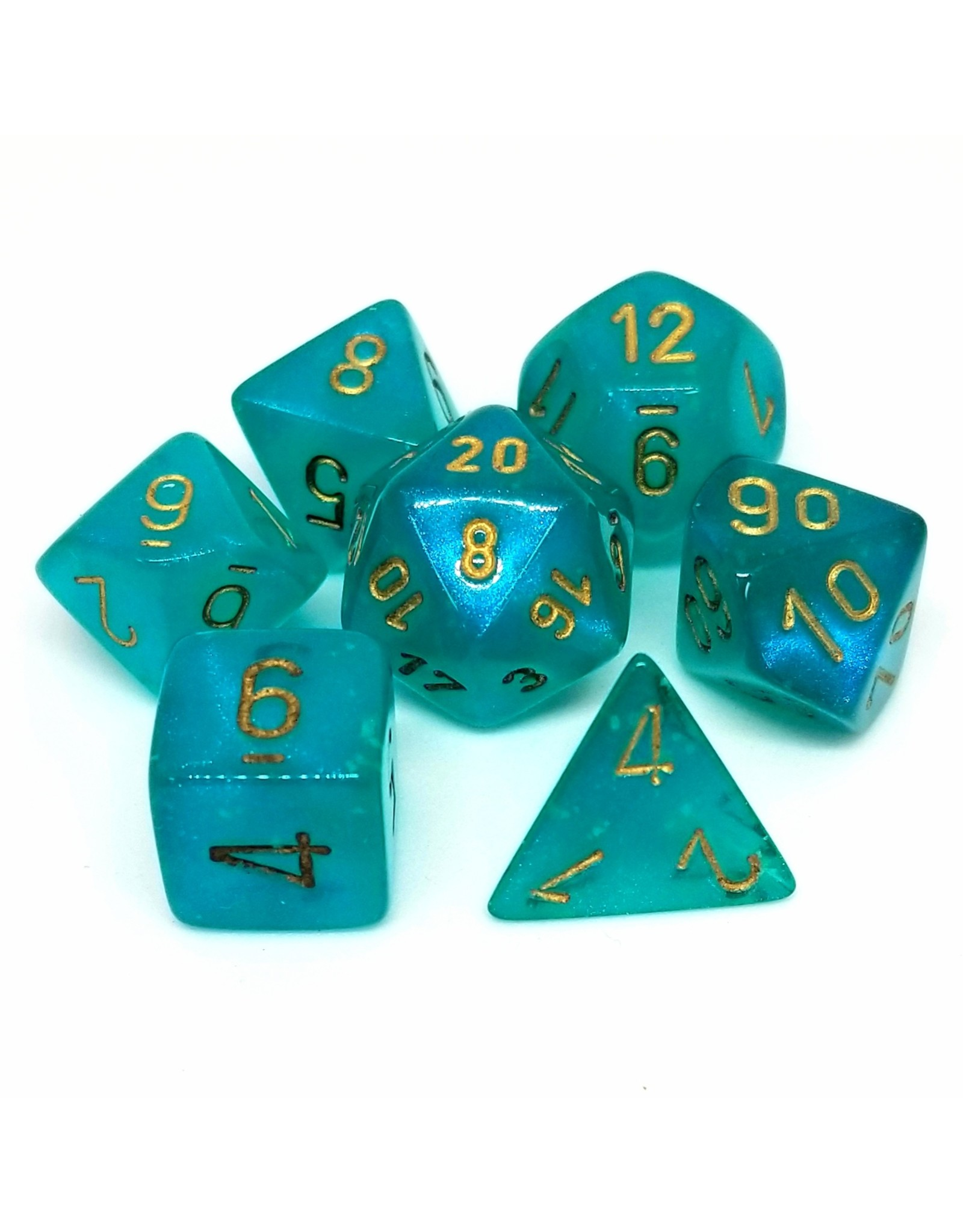 CHESSEX CHX 27585 7ct BOREALIS POLYHEDRAL TEAL/GOLD LUMINARY