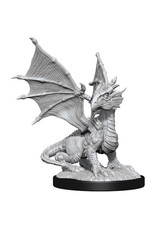 WIZKIDS D&D NOLZUR'S MARVELOUS SILVER DRAGON WYRMLING & HALFING DRAGON FRIEND UNPAINTED MINI W13