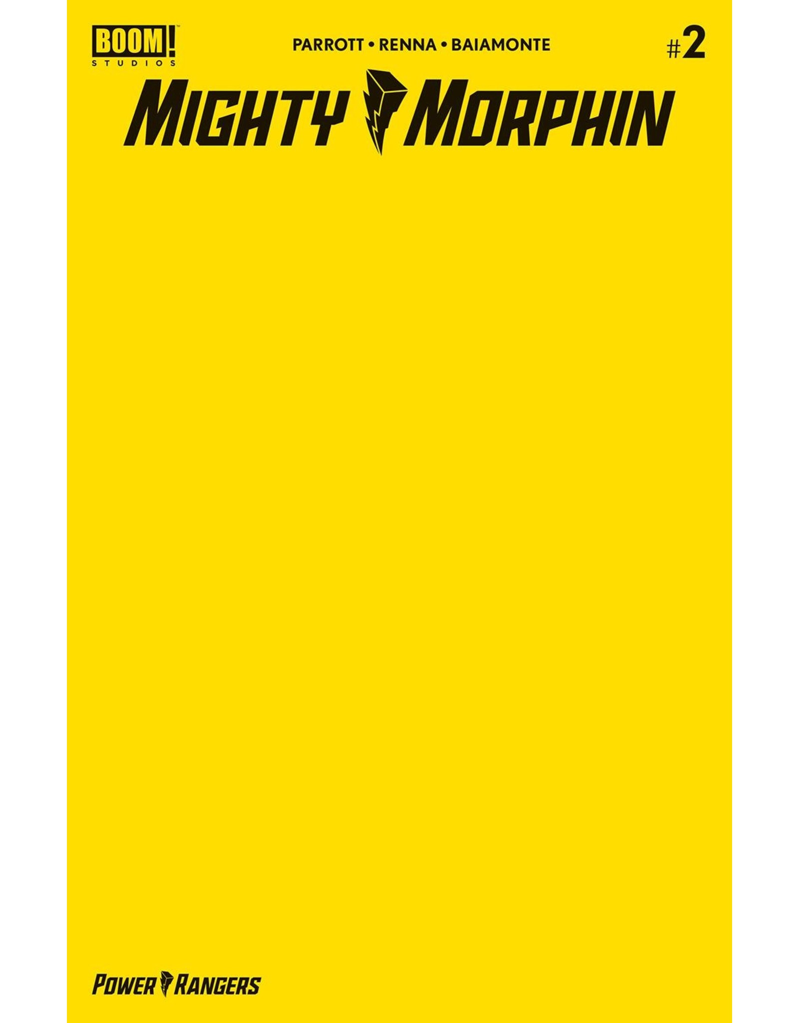BOOM! STUDIOS MIGHTY MORPHIN #2 CVR C YELLOW BLANK SKETCH