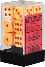 CHESSEX CHX 27653 16MM D6 DICE BLOCK FESTIVE SUNBURST RED