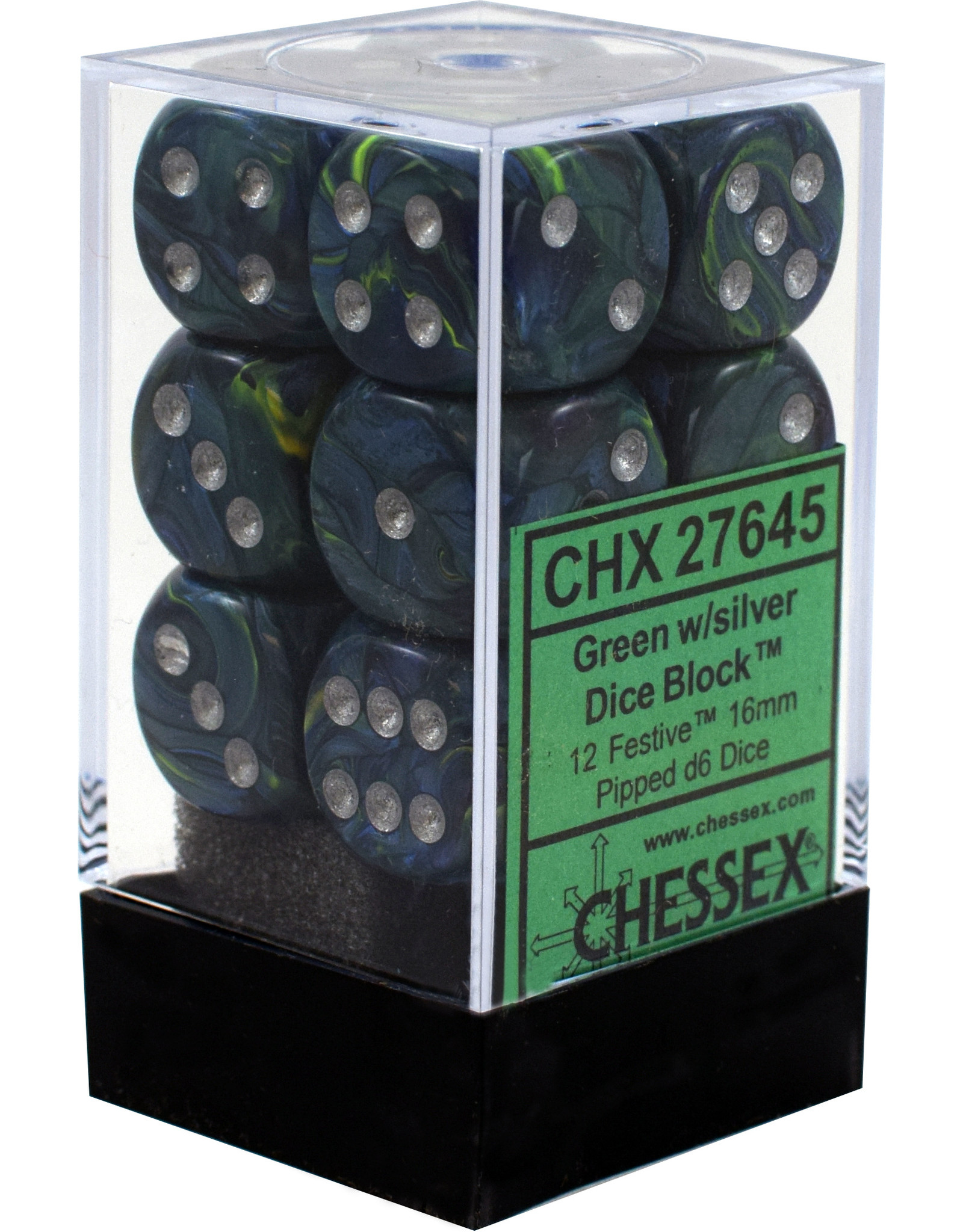 CHESSEX CHX 27645 16MM D6 DICE BLOCK FESTIVE GREEN W/SILVER