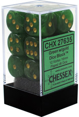 CHESSEX CHX 27635 16MM D6 DICE BLOCK VORTEX GREEN W/GOLD