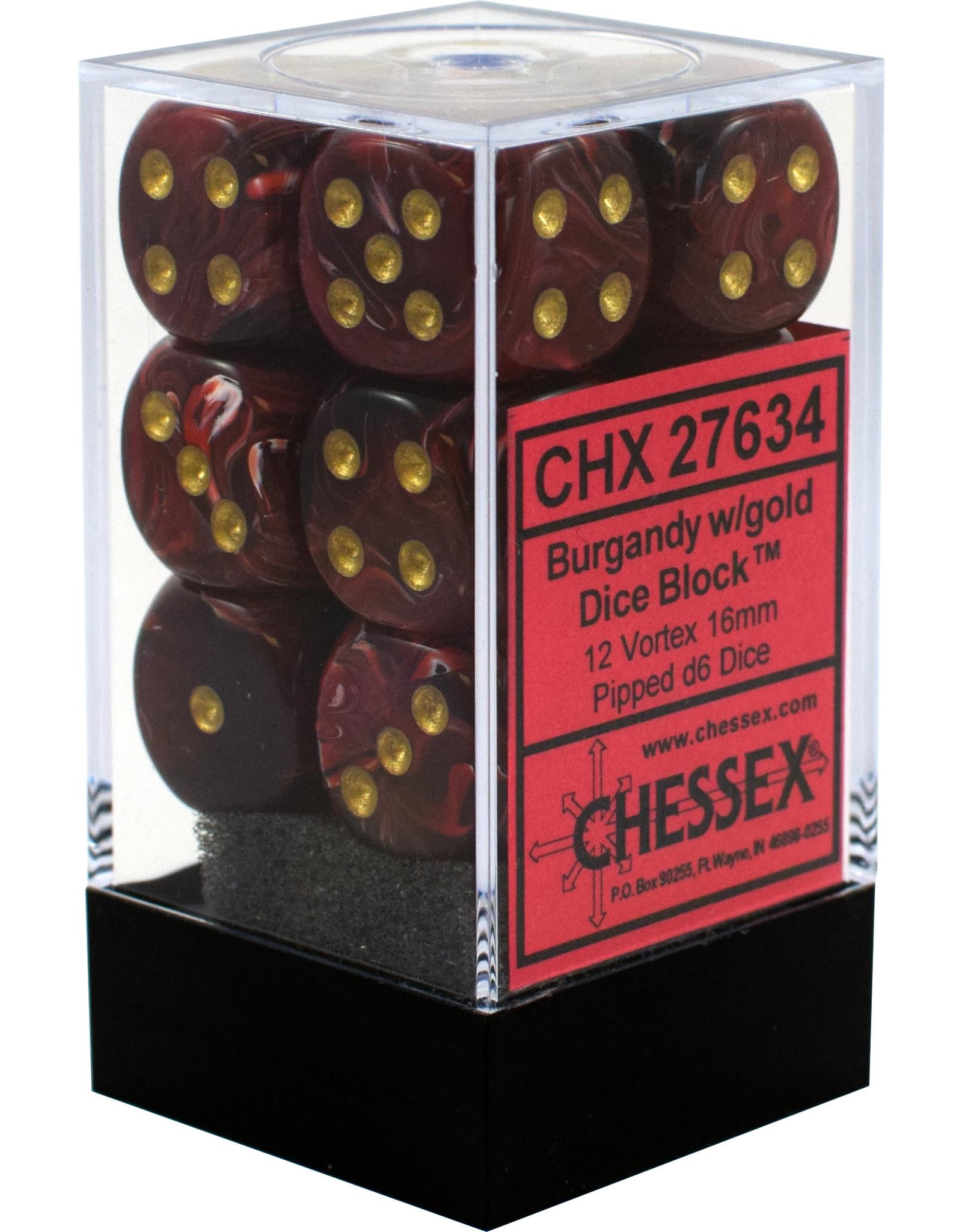 CHESSEX CHX 27634 16MM D6 DICE BLOCK VORTEX BURGUNDY W/GOLD