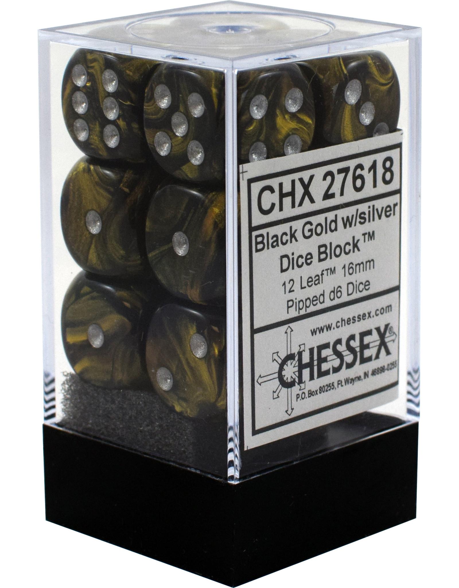 CHESSEX CHX 27618 16MM D6 DICE BLOCK LEAF BLACK GOLD W/SILVER