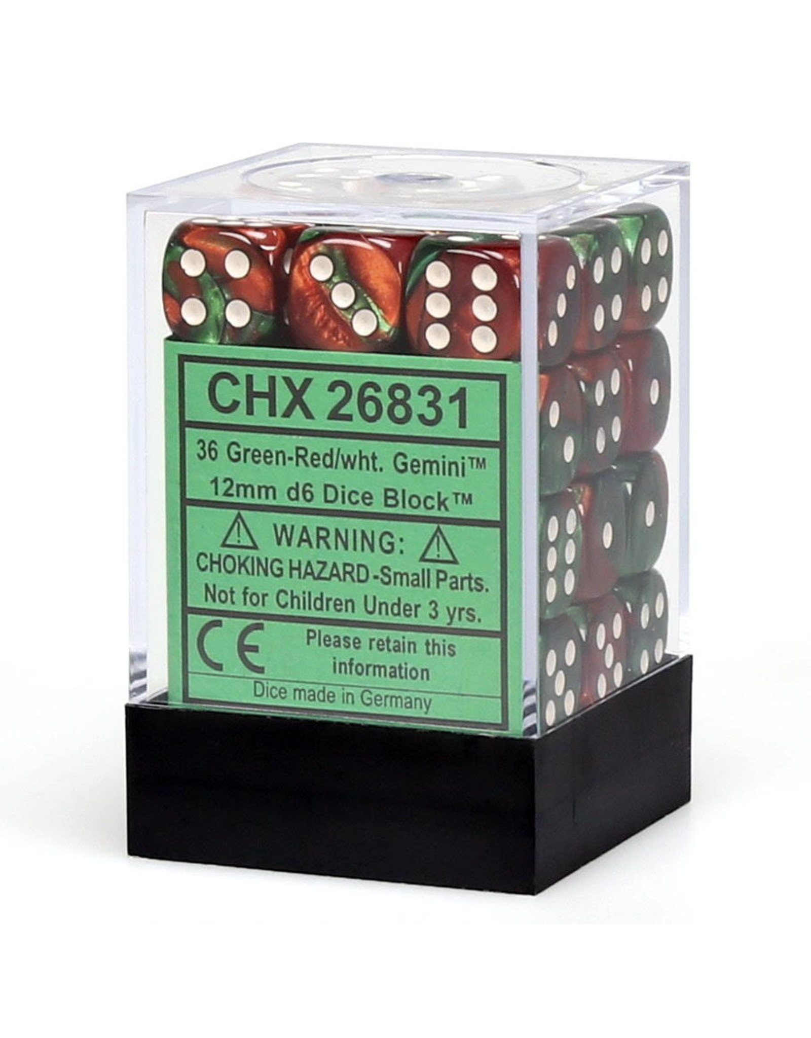 CHESSEX CHX 26831 12MM D6 DICE BLOCK GEMINI GREEN RED W/ WHITE