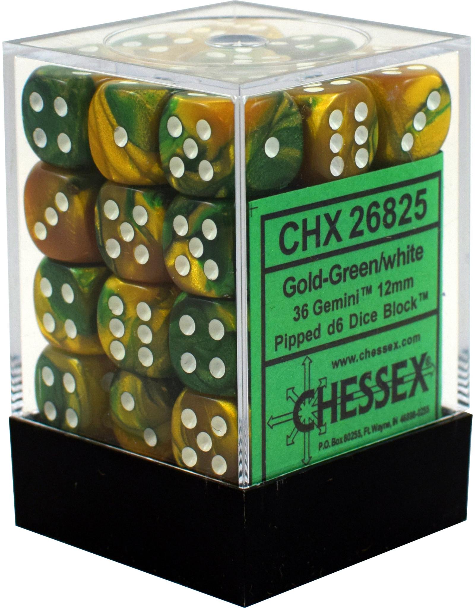 CHESSEX CHX 26825 12MM D6 DICE SET GOLD GREEN W/WHITE GEMINI