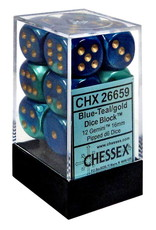 CHESSEX CHX 26659 16MM D6 DICE BLOCK GEMINI BLUE TEAL W/GOLD