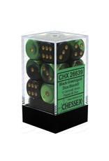 CHESSEX CHX 26639 16MM D6 DICE BLOCK GEMINI BLACK GREEN W/GOLD