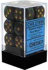 CHESSEX CHX 27699 16MM D6 DICE BLOCK LUSTROUS SHADOW W/GOLD