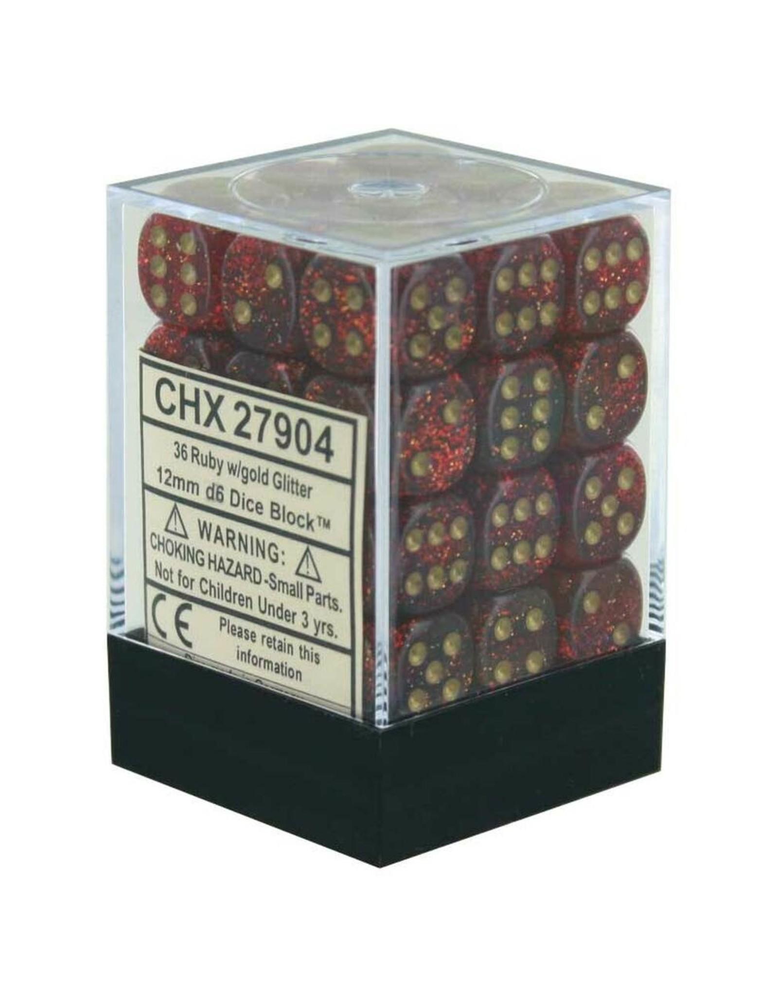 CHESSEX CHX 27904 12MM DICE BLOCK GLITTER RUBY W/GOLD