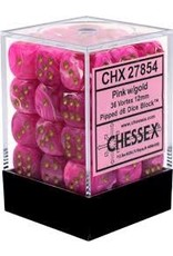 CHESSEX CHX 27854 12MM D6 DICE BLOCK VORTEX PINK W/GOLD