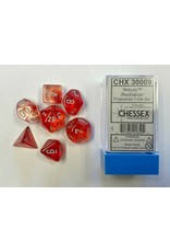 CHESSEX CHX 30009 LAB DICE 7 PC POLY DICE SET NEBULA RED/SILVER