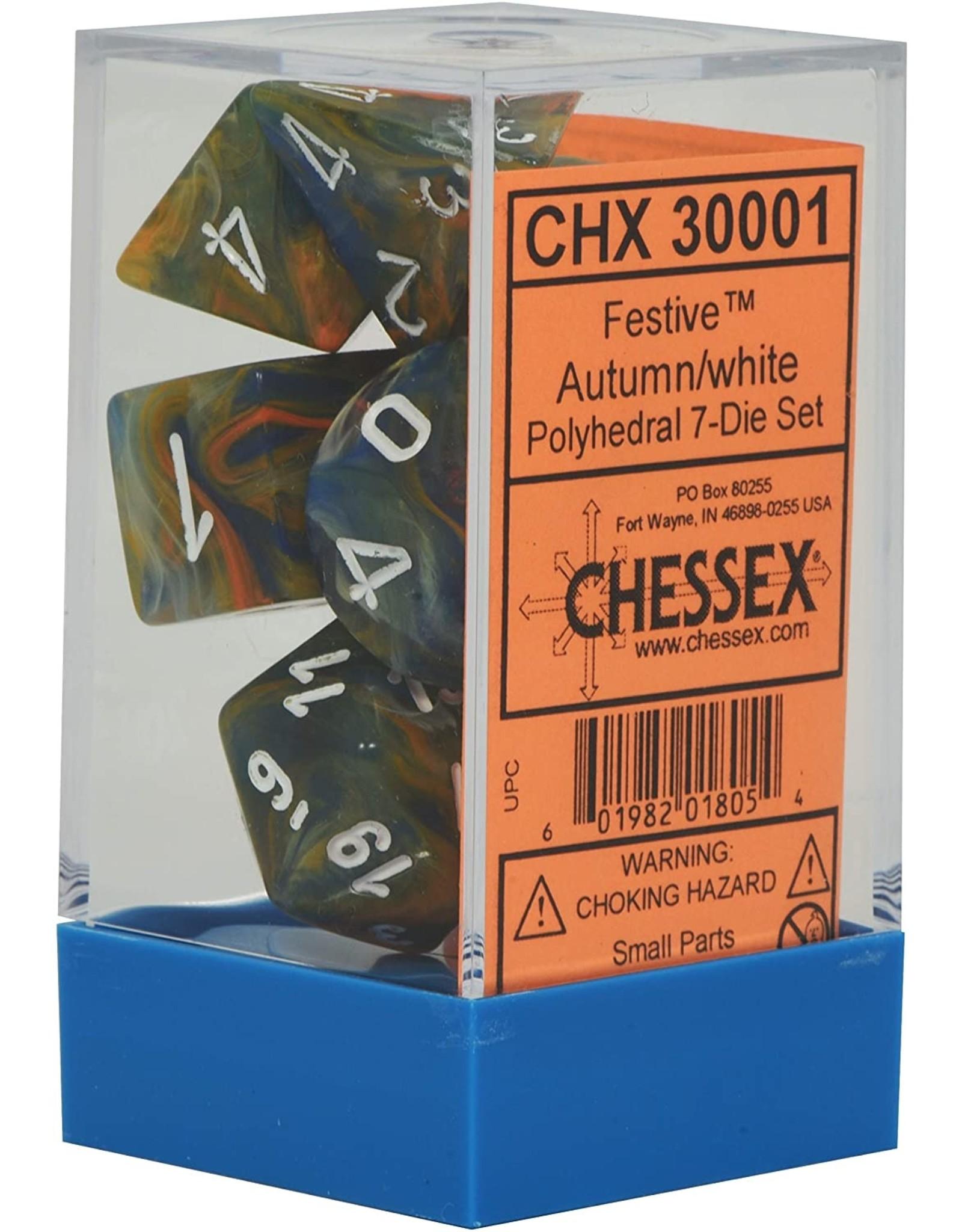 CHESSEX CHX 30001 LAB DICE 7 PC POLY DICE SET FESTIVE AUTUMN/WHITE