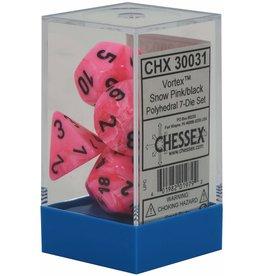 CHESSEX CHX 30031 LAB DICE 7 PC POLY DICE SET VORTEX SNOW PINK/ BLACK