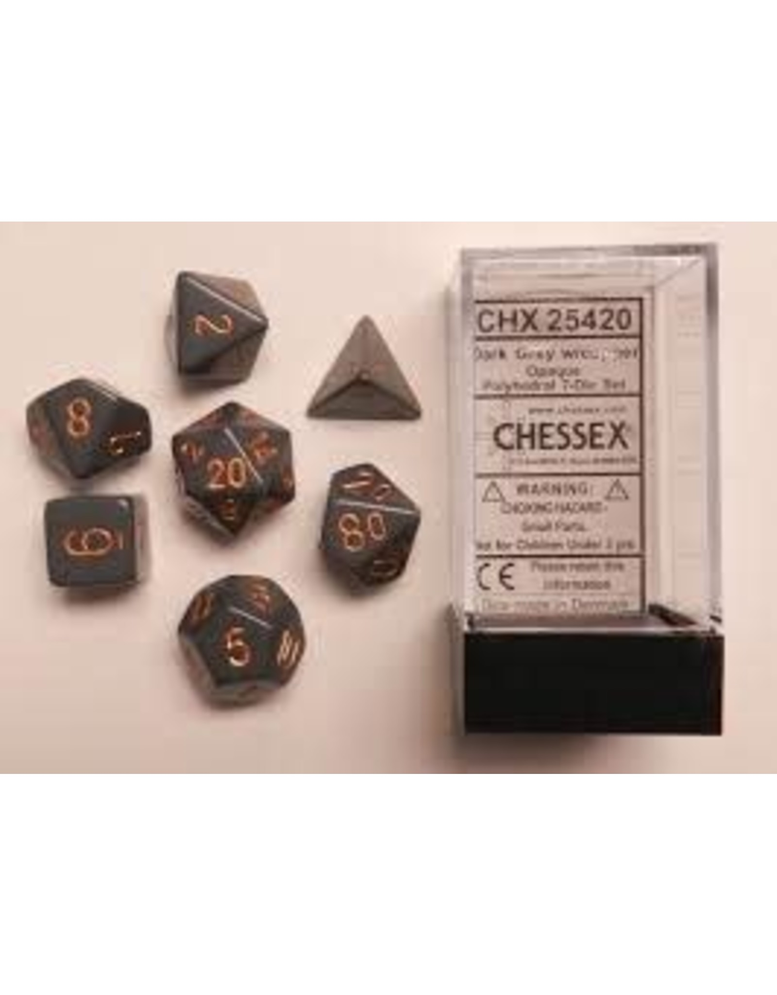 CHESSEX CHX 25420 7 PC POLY DICE SET OPAQUE DARK GREY/COPPER