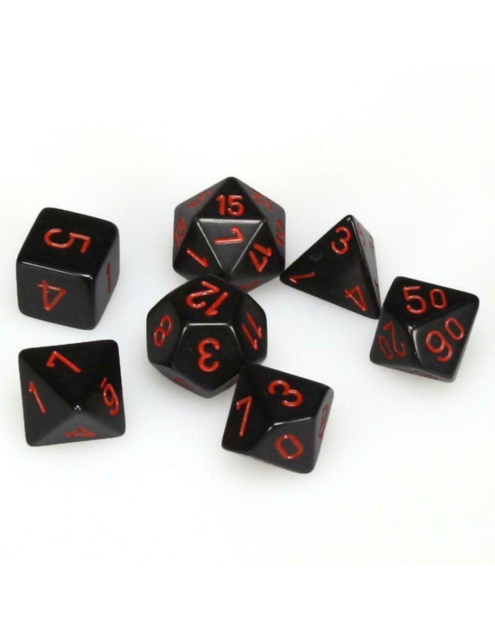 CHESSEX CHX 25418 7 PC POLY DICE SET OPAQUE BLACK W/RED