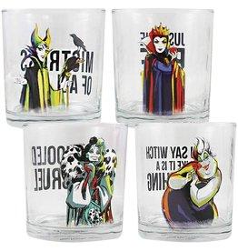 DISNEY VILLAINS GLASSES SET OF FOUR