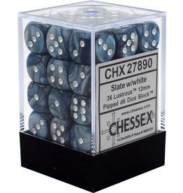 CHESSEX CHX 27890 12MM D6 DICE BLOCK SLATE W/ WHITE