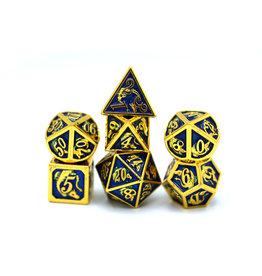 HYMGHO HYMGHO GOLD WITH ROYAL BLUE SOLID METAL DRAGON DICE