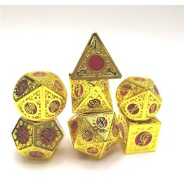 HYMGHO HYMGHO GOLD WITH RED AND BLACK SOLID METAL GEARS OF PROVIDENCE POLYHEDRAL DICE SET