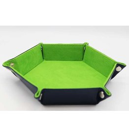 FOAM BRAIN GAMES LEATHERETTE & VELVET DICE TRAY - NAVY WITH LIME HEX