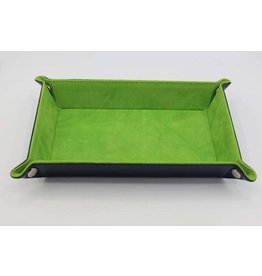 FOAM BRAIN GAMES LEATHERETTE & VELVET DICE TRAY - NAVY WITH LIME RECTANGLE