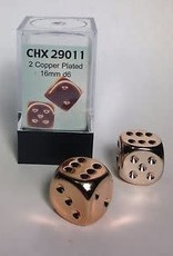 CHESSEX CHX 29011 16MM 2PC D6 SET COPPER PLATED