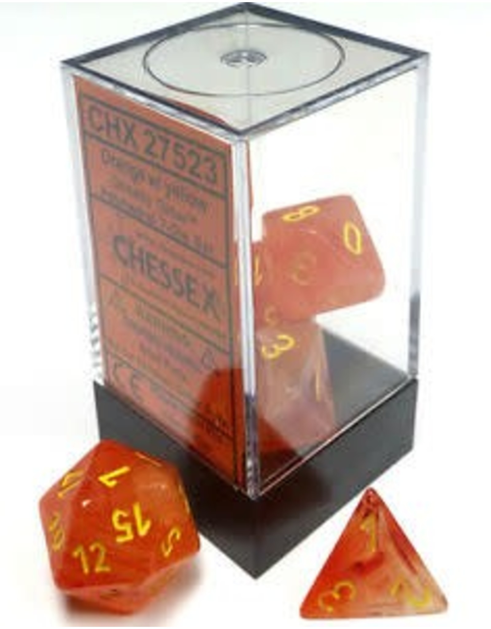 CHESSEX CHX 27523 7 PC POLY DICE SET ORANGE YELLOW GHOSTLY GLOW
