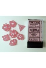 CHESSEX CHX 27464 7 PC POLY DICE SET FROSTED PINK W/WHITE