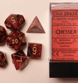 CHESSEX CHX 27434 7 PC POLY DICE SET VORTEX BURGUNDY W/GOLD