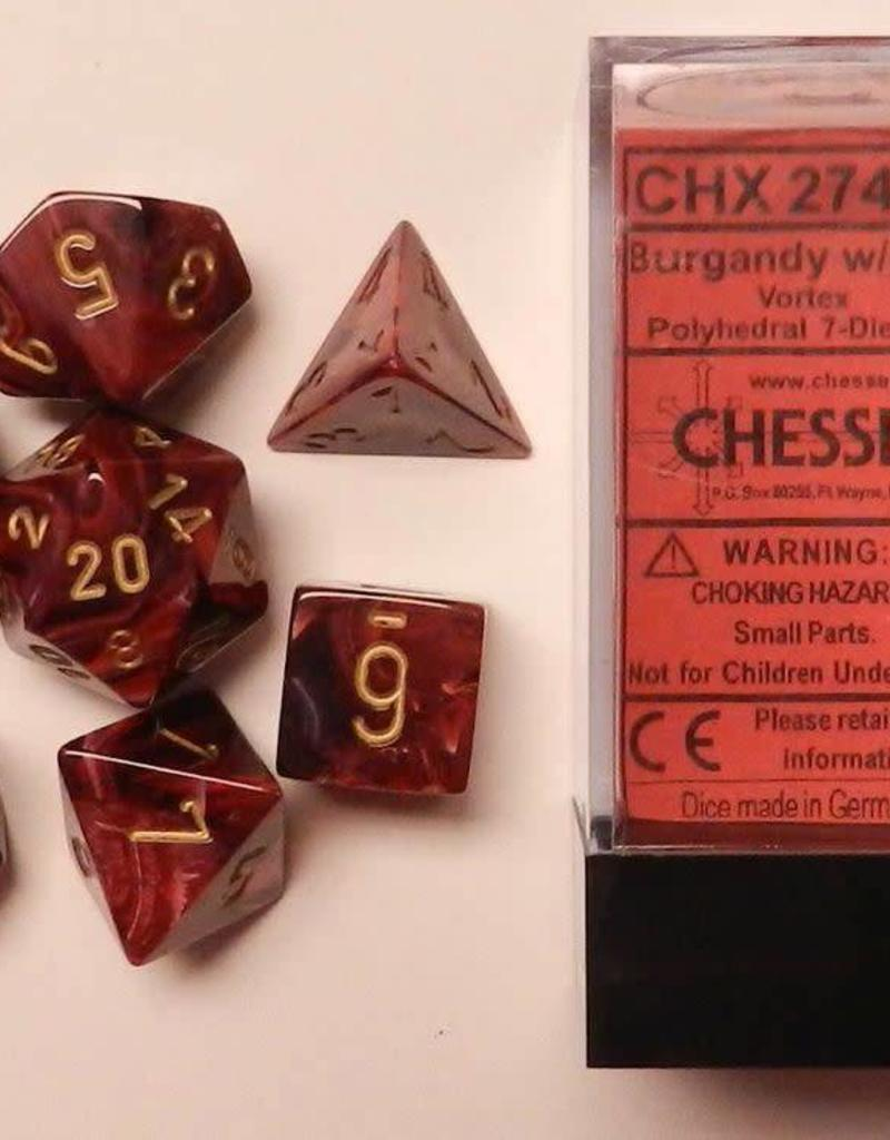 CHESSEX CHX 27434 7 PC POLY DICE SET VORTEX BURGUNDY W/GOLD