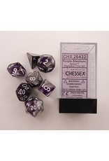 CHESSEX CHX 26432 7 PC POLY DICE SET PURPLE STEEL GEMINI