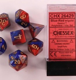 CHESSEX CHX 26429 7 PC POLY DICE SET BLUE W/ RED GEMINI