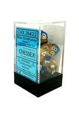CHESSEX CHX 26422 7 PC POLY DICE SET GEMINI BLUE GOLD/WHITE
