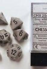 CHESSEX CHX 25410 7 PC POLY DICE SET DRK GREY W/ BLACK