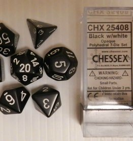 CHESSEX CHX 25408 7 PC POLY DICE SET OPAQUE BLACK W/ WHITE