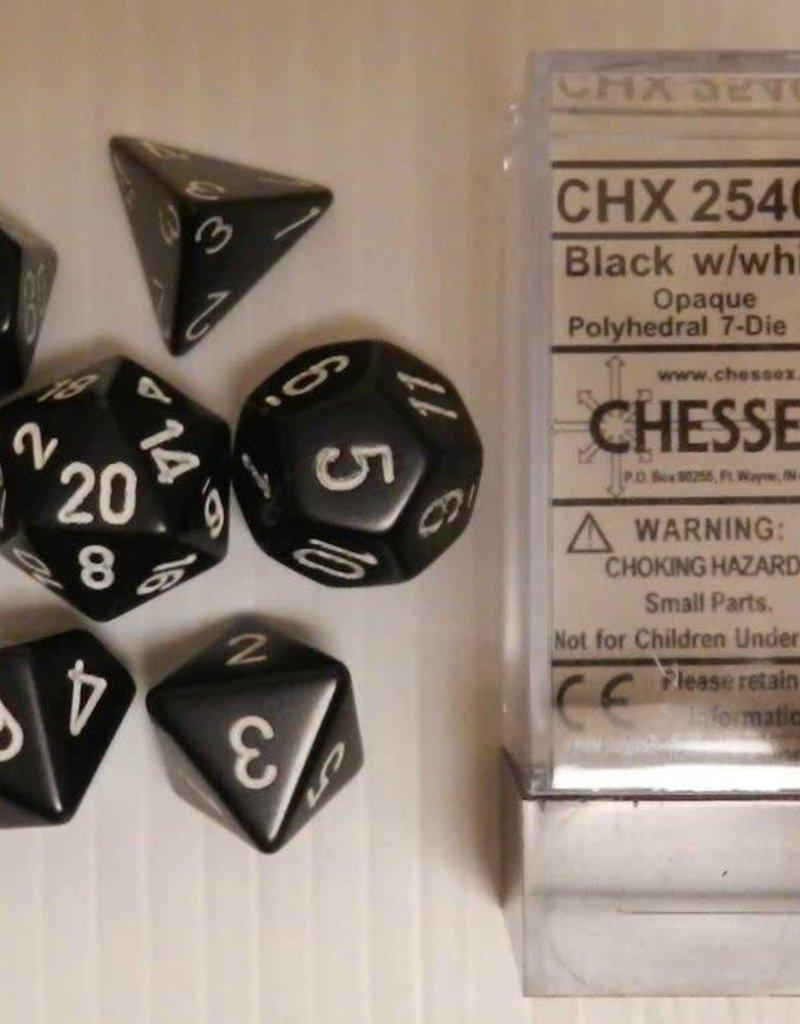 CHESSEX CHX 25408 7 PC POLY DICE SET OPAQUE BLACK W/ WHITE