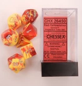 CHESSEX CHX 26450 7 PC POLY DICE SET GEMINI RED YELLOW W/ SILVER
