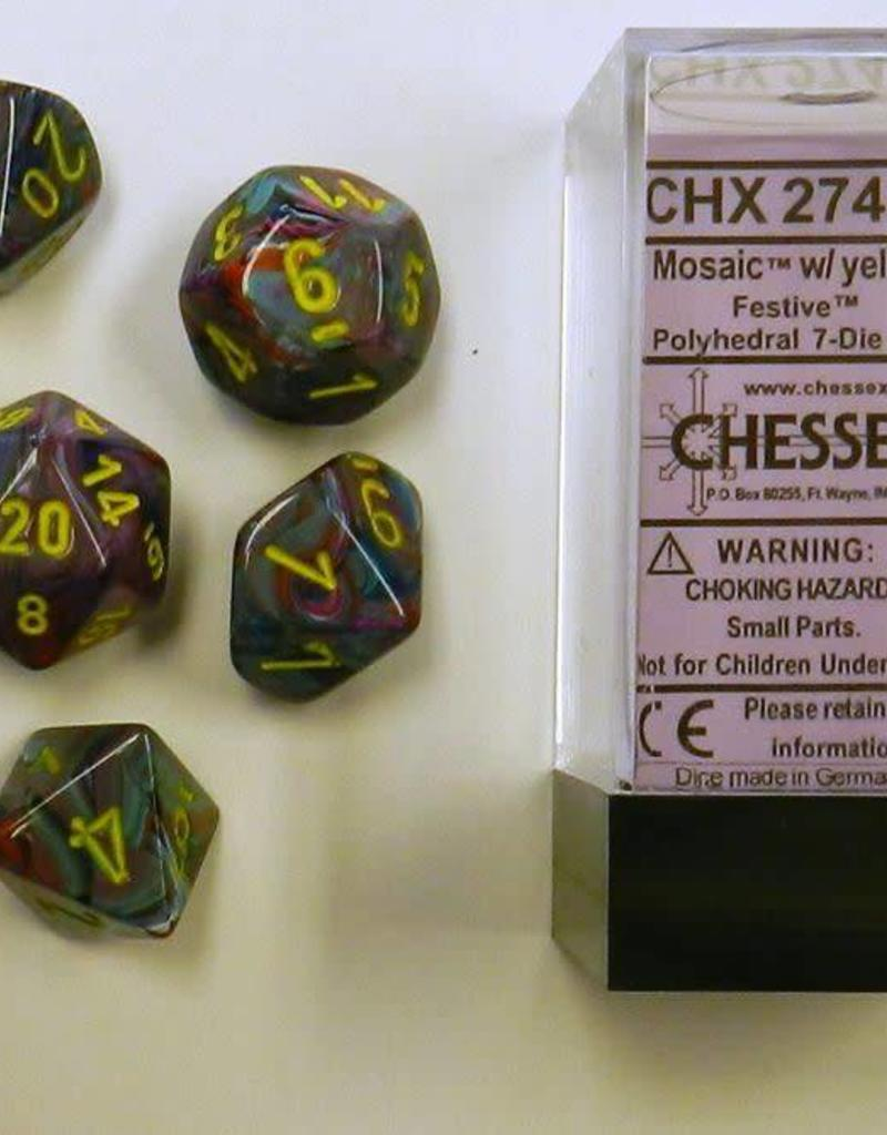 CHESSEX CHX 27450 7 PC POLY DICE SET FESTIVE MOSAIC W/YELLOW