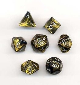 CHESSEX CHX 27418 7 PC POLY DICE SET LEAF BLACK GOLD W/SILVER