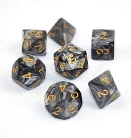 CHESSEX CHX 27498 7 PC POLY DICE SET LUSTROUS BLACK W/ GOLD