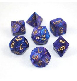 CHESSEX CHX 27497 7 PC POLY DICE SET LUSTROUS PURPLE W/ GOLD