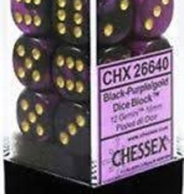CHESSEX CHX 26628 16MM D6 DICE BLOCK GEMINI BLUE PURPLE W/GOLD