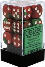 CHESSEX CHX 26631 16MM D6 DICE BLOCK GEMINI GREEN RED W/WHITE