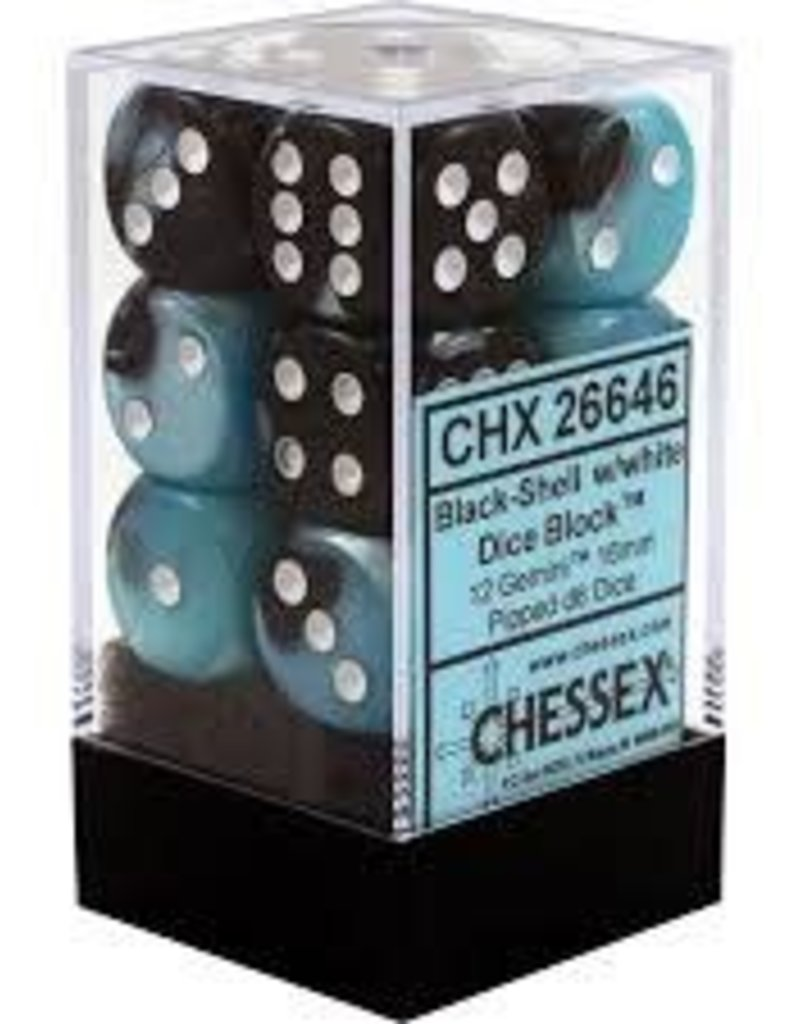 CHESSEX CHX 26646 16MM D6 DICE BLOCK BLACK SHELL W/WHITE GEMINI